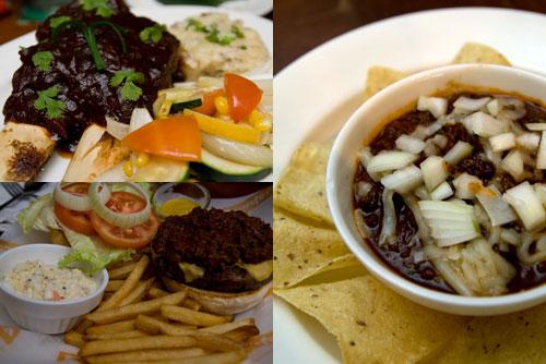BBQ beef ribs, Frontera burger, Chili Con Carne
