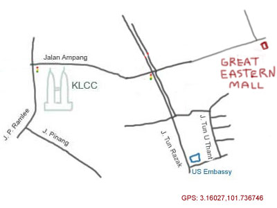 Map to Great Eastern Mall, Ampang, KL