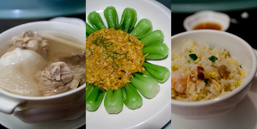 double boiled superior chicken soup, vegetable with crab roe, yong chow fried rice