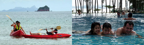 kayaking and swimming at Sheraton Krabi