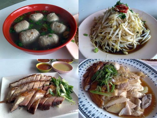 meat balls, bean sprout, roasted pork, chicken