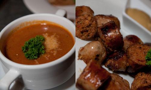 tomato soup, pork sausage