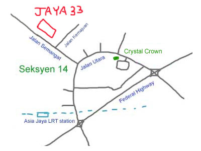 Map to Jaya 33, Petaling Jaya