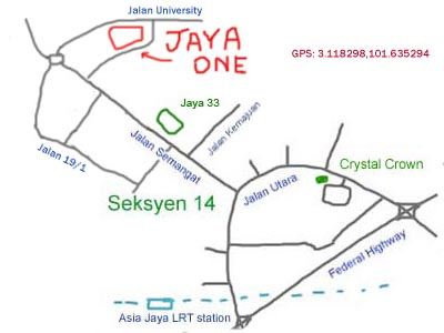 map to Jaya One, Petaling Jaya
