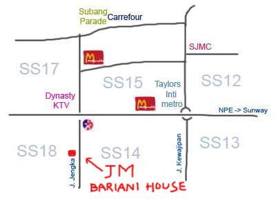 map to JM Bariani House at Subang Jaya