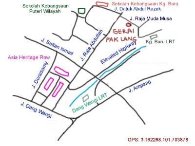map to gerai pak lang at Kampung Baru, Kuala Lumpur