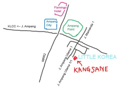 Map to Little Korea, Ampang, Kuala Lumpur