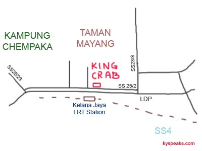 Map to Restaurant King Crab at Petaling Jaya