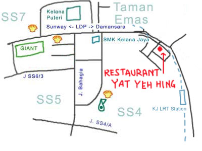 map to Chicken Rice at Yat Yeh Hing Kelana Jaya