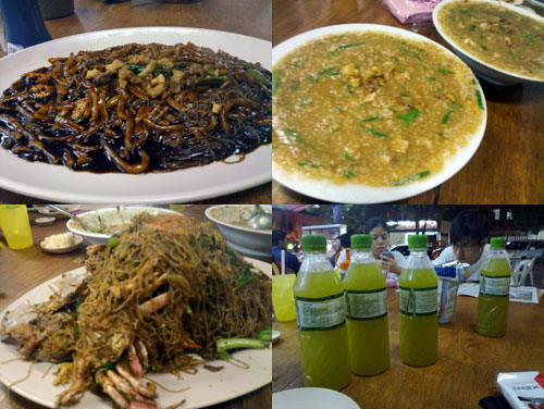 hokkien mee, fried porridge, crab meehun, sugar cane