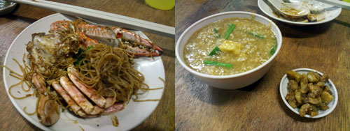 crab mee hun and fried porridge