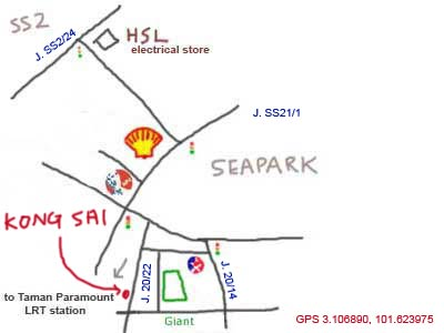 Map to Kong Sai at Taman Paramount