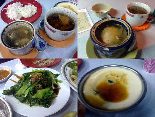 steamed chinese herbal soup, vegetable, steamed egg