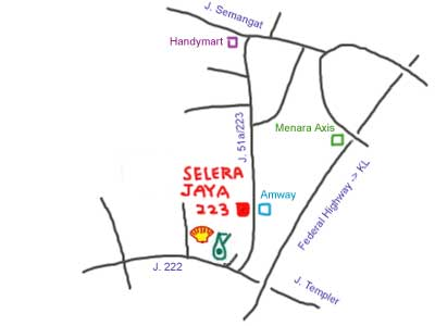 Map to Jalan 223 at Petaling Jaya