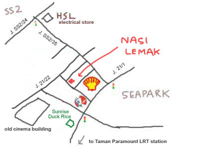 Map to PJ Seapark, Nasi Lemak