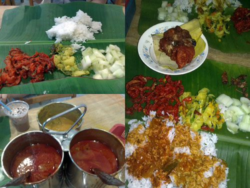 banana leaf rice with curry and chicken