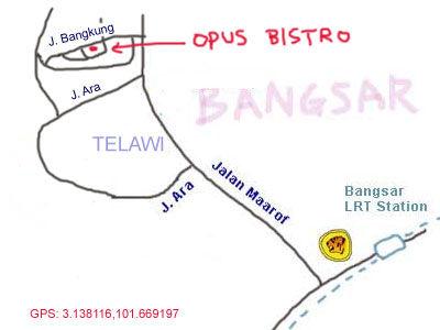 map to Opus Bistro at Bangsar