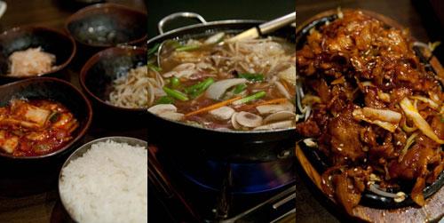 banchan, beef casserole, spicy pork bulgogi