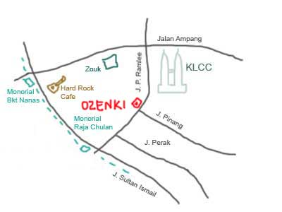 map to Ozeki Japanese Restaurant near KLCC