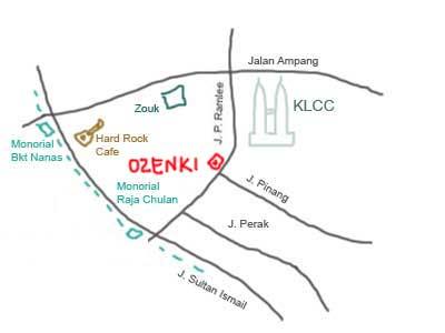 map to Ozeki Japanese Restaurant near KLCC