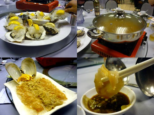 oyster and geoduck at Pantai Seafood
