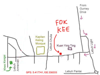 map to fook kee restaurant, Penang