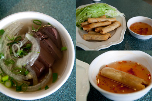 coagulated cow's blood, Vietnamese spring roll