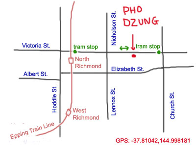 map to Pho Dzung at Richmond, Vic