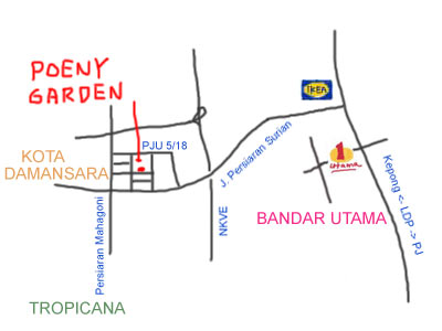 map to Poeny Garden at Kota Damansara