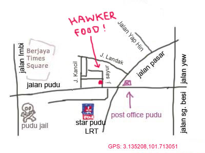 location map of jalan sayur food court