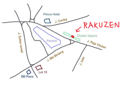 map to Chulan Square, Rakuzen