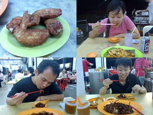 Kerol, Horng, and KY at Restaurant Ahwa Hokkien Mee