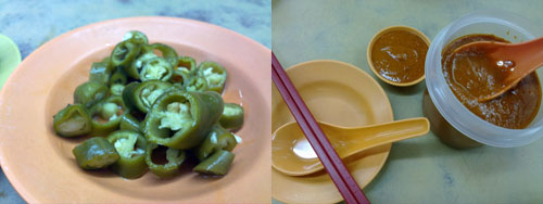 pickled green chili and red chili paste