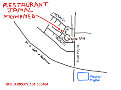 map to restaurant jamal mohamed, near wisma FAM