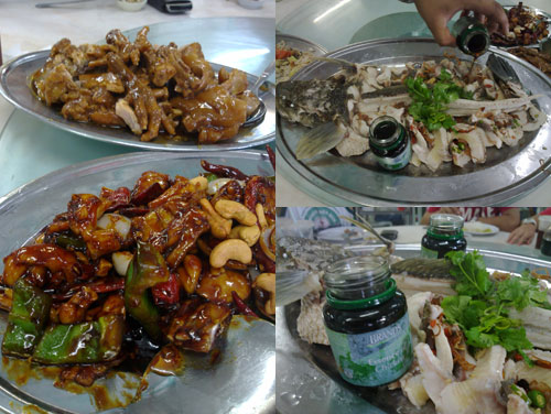 stewed pork knuckle, kungpao frog, steamed haruan fish