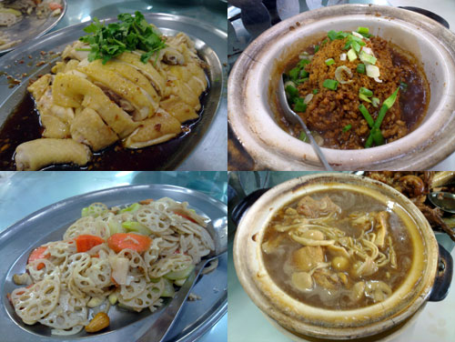 kampung chicken, clay pot tofu, lotus root, bak kut teh