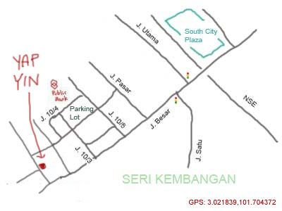 map to restaurant yap yin and bak kut teh at seri kembangan
