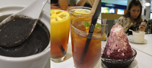 black sesame soup, drinks, shaved ice, at room eighteen