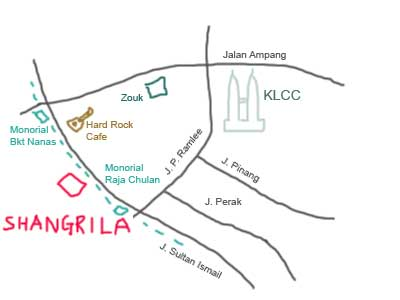 Map to Shangri-la Hotel, KL