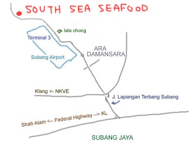map to South Sea Seafood at kampung subang
