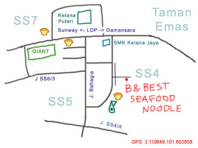 B & Best seafood noodle at SS4 map