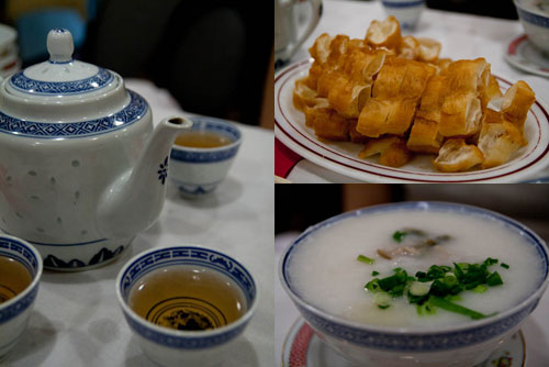 chinese tea, yau char kuai, porridge