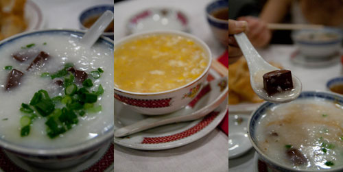 coagulated pork blood porridge, sweet corn soup at Supper Inn
