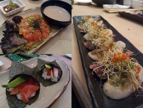 Salmon Avocado Yukke, handrolls, hotate wafu