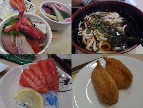 Irodori Chirashi don, Sansai Udon, salmon sashimi, Inari sushi