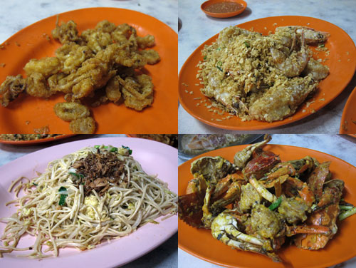 deep fried squid, prawn with nestum, fried noodle, crab with salted egg