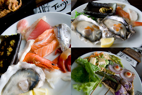 sashimi, oysters, at Tenji Japanese Buffet