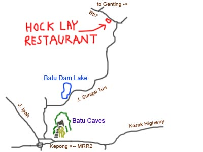 map to Hock Lay Restaurant, Ulu Yam