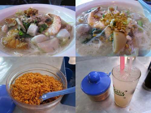 fish head noodle with prawn, fish ball, kidney, and more