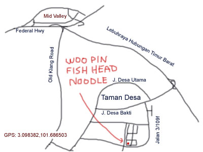 map to Woo Pin fish head noodle at Taman Danau Desa